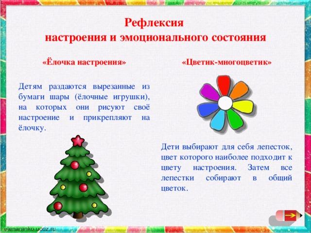 Рефлексия  настроения и эмоционального состояния «Ёлочка настроения» «Цветик-многоцветик» Детям раздаются вырезанные из бумаги шары (ёлочные игрушки), на которых они рисуют своё настроение и прикрепляют на ёлочку.  Дети выбирают для себя лепесток, цвет которого наиболее подходит к цвету настроения. Затем все лепестки собирают в общий цветок.