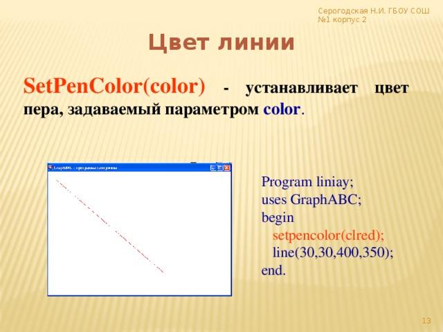Серогодская Н.И. ГБОУ СОШ №1 корпус 2 Цвет линии SetPenColor(color)  - устанавливает цвет пера, задаваемый параметром color . Program liniay; uses GraphABC; begin  setpencolor(clred);  line(30,30,400,350); end.