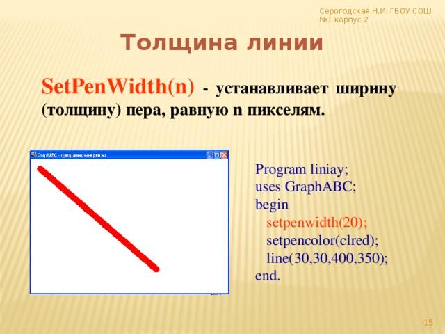 Серогодская Н.И. ГБОУ СОШ №1 корпус 2 Толщина линии SetPenWidth(n)  - устанавливает ширину (толщину) пера, равную n пикселям. Program liniay; uses GraphABC; begin  setpenwidth(20);  setpencolor(clred);  line(30,30,400,350); end.