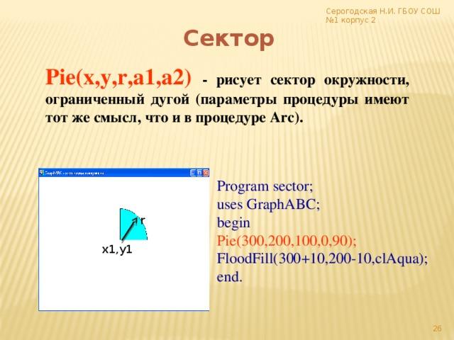 Серогодская Н.И. ГБОУ СОШ №1 корпус 2 Сектор Pie(x,y,r,a1,a2)  - рисует сектор окружности, ограниченный дугой (параметры процедуры имеют тот же смысл, что и в процедуре Arc). Program sector; uses GraphABC; begin Pie(300,200,100,0,90); FloodFill(300+10,200-10,clAqua); end. r х1,у1 17
