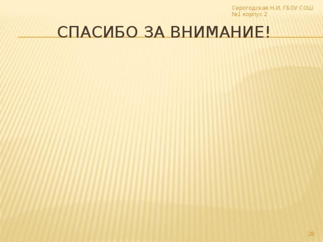 Серогодская Н.И. ГБОУ СОШ №1 корпус 2 Спасибо за внимание! 17