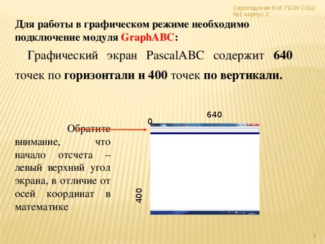 400 Серогодская Н.И. ГБОУ СОШ №1 корпус 2  Для работы в графическом режиме необходимо подключение модуля GraphABC : Графический экран PasсalABC содержит 640 точек по горизонтали и 400 точек по вертикали. 640 0  Обратите внимание, что начало отсчета – левый верхний угол экрана, в отличие от осей координат в математике