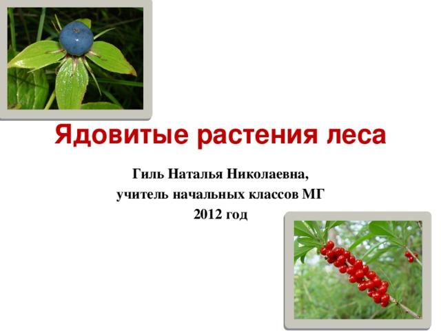 Ядовитые растения леса Гиль Наталья Николаевна, учитель начальных классов МГ 2012 год