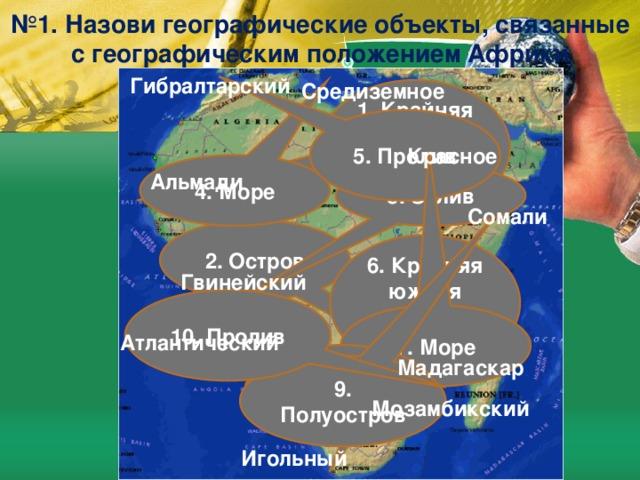№ 1. Назови географические объекты, связанные с географическим положением Африки Гибралтарский Средиземное 1. Крайняя западная точка материка 5. Пролив Красное 4. Море Альмади 3. Залив Сомали 2. Остров 6. Крайняя южная точка материка Гвинейский 10. Пролив 7. Море Атлантический 8. Океан Мадагаскар 9. Полуостров Мозамбикский Игольный
