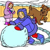 Картинки для детей дети катают снежный ком
