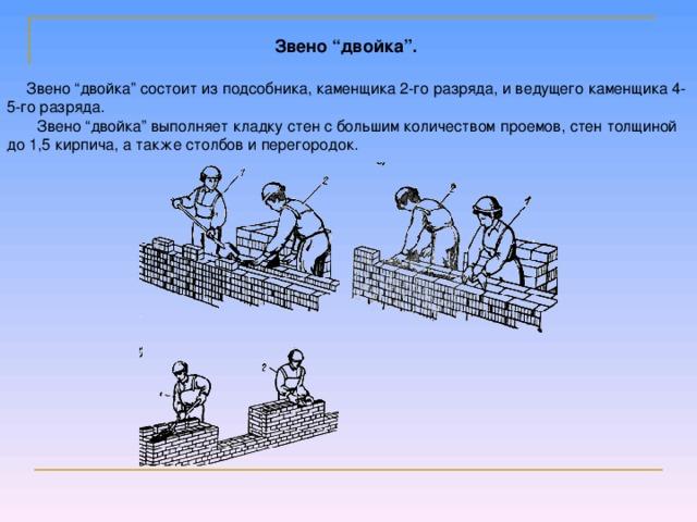 """Звено """"двойка"""". Звено """"двойка"""" состоит из подсобника, каменщика 2-го разряда, и ведущего каменщика 4-5-го разряда.  Звено """"двойка"""" выполняет кладку стен с большим количеством проемов, стен толщиной до 1,5 кирпича, а также столбов и перегородок."""