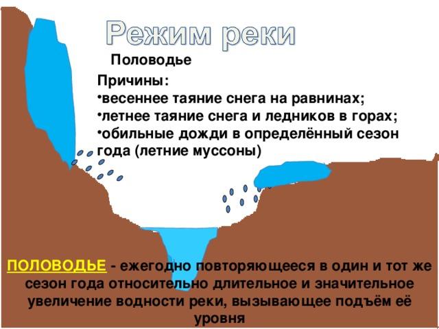 Половодье Причины: весеннее таяние снега на равнинах; летнее таяние снега и ледников в горах; обильные дожди в определённый сезон года (летние муссоны) ПОЛОВОДЬЕ - ежегодно повторяющееся в один и тот же сезон года относительно длительное и значительное увеличение водности реки, вызывающее подъём её уровня
