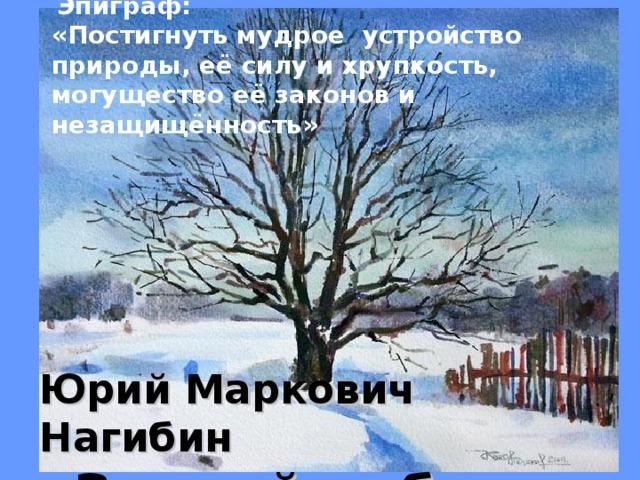 Эпиграф: «Постигнуть мудрое устройство природы, её силу и хрупкость, могущество её законов и незащищённость»     Юрий Маркович Нагибин  «Зимний дуб».