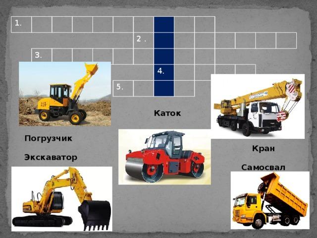 1. 3. 2 . 5. 4. Каток Погрузчик  Экскаватор Кран  Самосвал