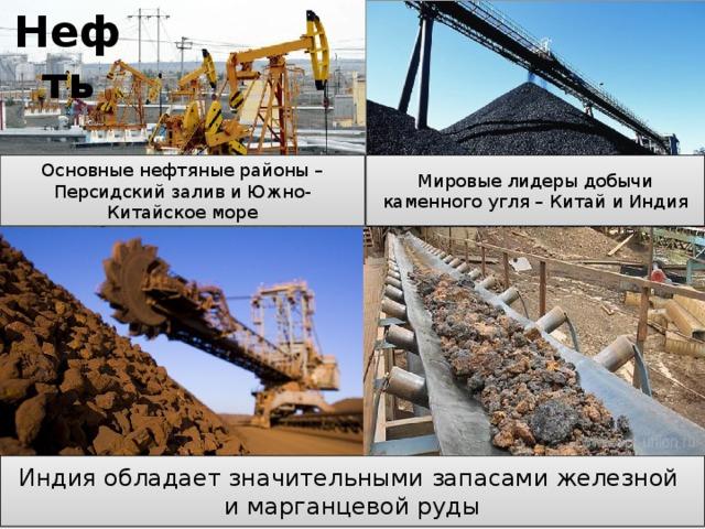 Нефть Основные нефтяные районы – Персидский залив и Южно-Китайское море Мировые лидеры добычи каменного угля – Китай и Индия Индия обладает значительными запасами железной и марганцевой руды Природные ресурсы