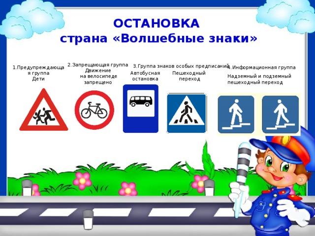 ОСТАНОВКА  страна «Волшебные знаки»  2.Запрещающая группа Движение  на велосипеде запрещено 3.Группа знаков особых предписаний 1.Предупреждающая группа  Дети 4.Информационная группа Автобусная остановка Пешеходный  переход Надземный и подземный пешеходный переход