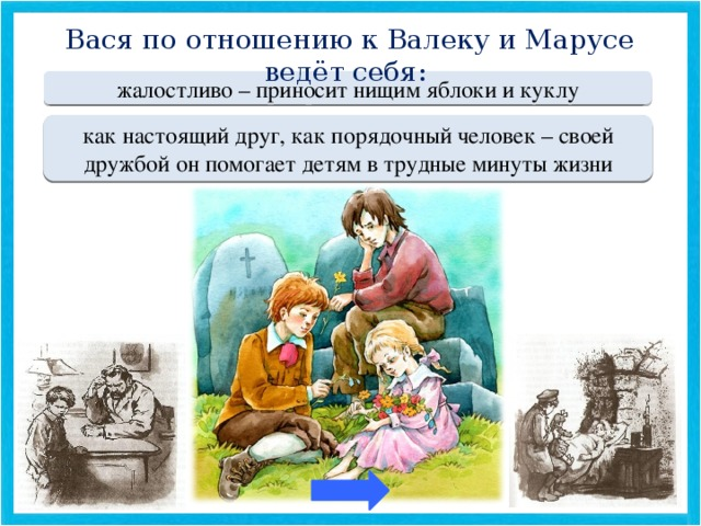 Вася по отношению к Валеку и Марусе ведёт себя: Переход хода жалостливо – приносит нищим яблоки и куклу МОЛОДЕЦ как настоящий друг, как порядочный человек – своей дружбой он помогает детям в трудные минуты жизни