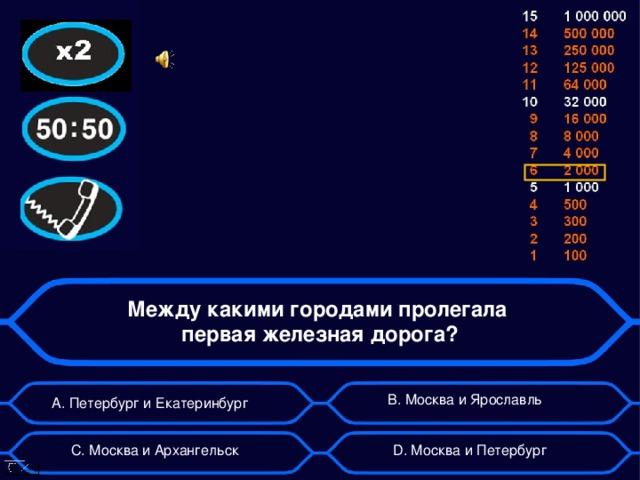 Между какими городами пролегала  первая железная дорога? А. Петербург и Екатеринбург B . Москва и Ярославль D . Москва и Петербург C . Москва и Архангельск