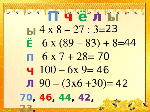 П  ч  ё  л  ы  4 х 8 – 27 : 3=  6 х (89 – 83) + 8=  6 х 7 + 28=  100 – 6х 9=  90 – (3х6 +30)= 23 Ы Ё  П  Ч Л  44 70 46 42 70 , 46 , 44 , 42 , 23 .