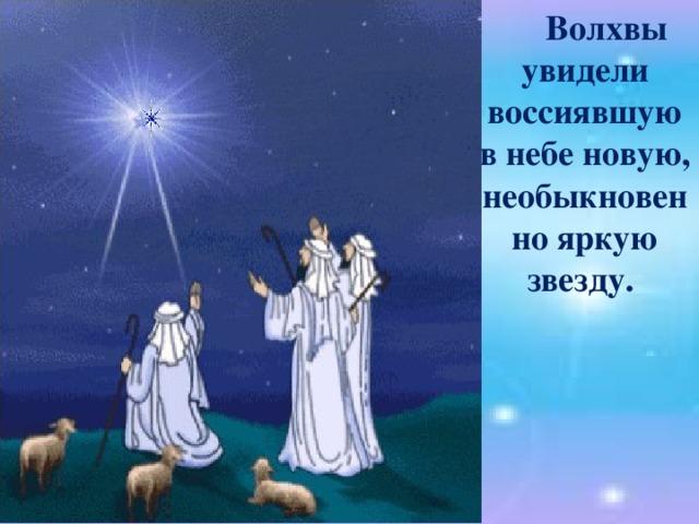 Волхвы увидели воссиявшую в небе новую, необыкновенно яркую звезду.