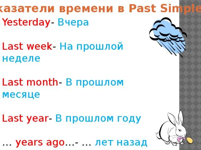 Указатели времени в Past Simple Yesterday - Вчера Last  week - На прошлой неделе Last  month - В прошлом месяце Last  year - В прошлом году …  years ago …- … лет назад