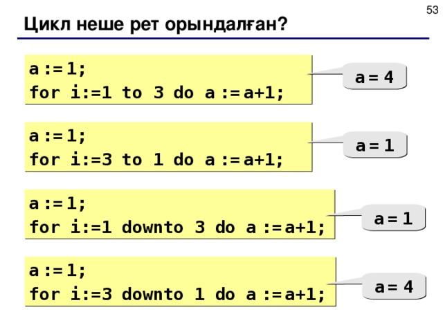 Цикл неше рет орындалған? a  :=  1; for i:= 1  to 3 do  a  :=  a+1; a  =  4 a  :=  1; for i:=3 to 1 do  a  :=  a+1; a  =  1 a  :=  1; for i:= 1 down to 3 do  a  :=  a+1; a  =  1 a  :=  1; for i:= 3 down to 1 do  a  :=  a+1; a  =  4