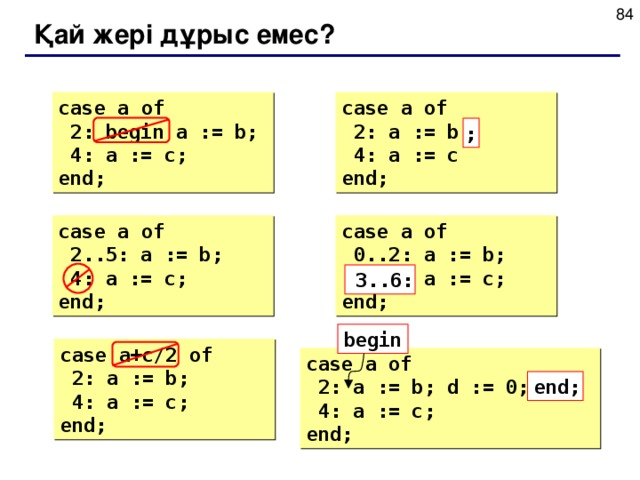 Қай жері дұрыс емес ? case  a  of  2: begin a := b;  4: a := c; end; case  a  of  2: a := b  4: a := c end; ; case  a  of  2..5: a := b;  4: a := c; end; case  a  of  0..2: a := b;  6..3: a := c; end; 3..6: begin case  a+c/2  of  2: a := b;  4: a := c; end; case  a  of  2: a := b; d := 0;  4: a := c; end; end;