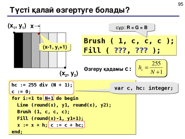Түсті қалай өзгертуге болады? ( x 1 , y 1 ) x сұр: R = G = B Brush ( 1, c, c, c ); Fill ( ??? , ??? ); ( x-1 , y 1 +1 ) Өзгеру қадамы c: ( x 2 , y 2 )  hc := 255 div (N + 1); c := 0; for i:=1 to N+1 do begin  Line (round(x), y1, round(x), y2) ;  Brush (1, c, c, c);  Fill (round(x)-1, y1+1);  x := x + h; c := c + hc; end; var c, hc: integer;
