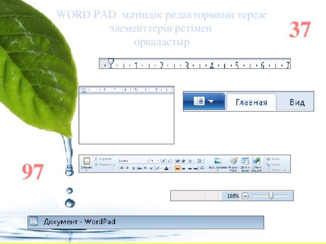 WORD PAD мәтіндік редакторының терезе элементтерін ретімен орналастыр 37 97