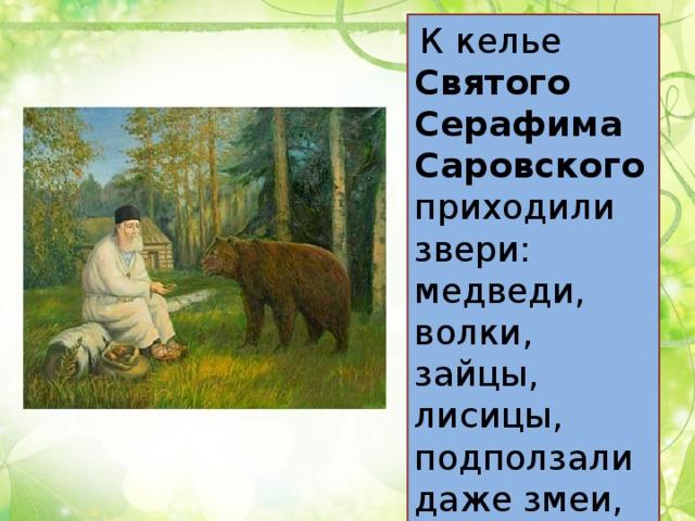 К келье Святого Серафима Саровского приходили звери: медведи, волки, зайцы, лисицы, подползали даже змеи, ящерицы.