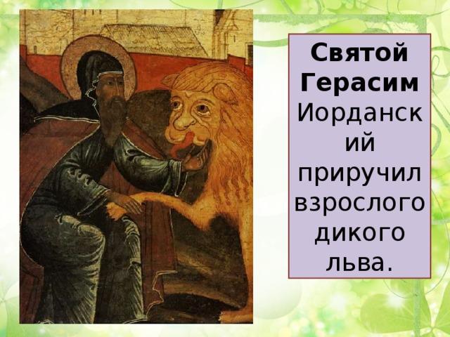 Святой Герасим Иорданский приручил взрослого дикого льва.