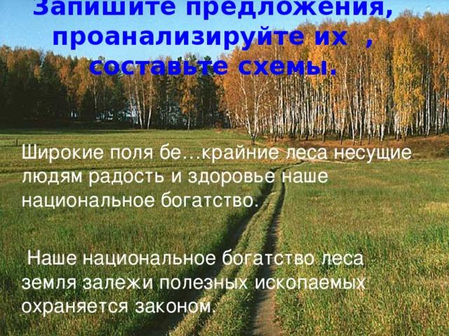 Запишите предложения, проанализируйте их , составьте схемы.  Широкие поля бе…крайние леса несущие людям радость и здоровье наше национальное богатство.  Наше национальное богатство леса земля залежи полезных ископаемых охраняется законом.