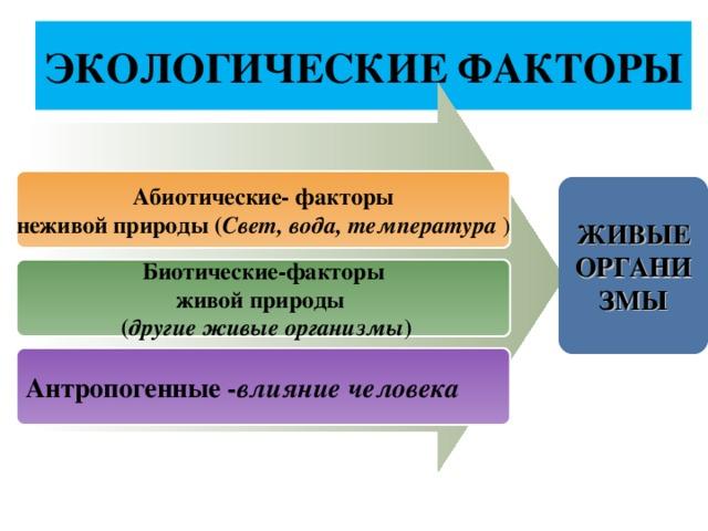 ЭКОЛОГИЧЕСКИЕ ФАКТОРЫ Абиотические- факторы неживой природы ( Свет, вода, температура ) ЖИВЫЕ ОРГАНИЗМЫ Биотические-факторы живой природы  ( другие живые организмы ) Антропогенные - влияние человека