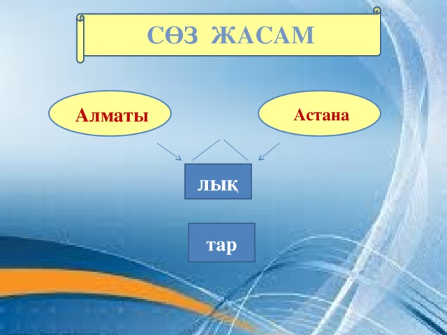 Сөз ЖАСАМ    Астана  Алматы  лық тар