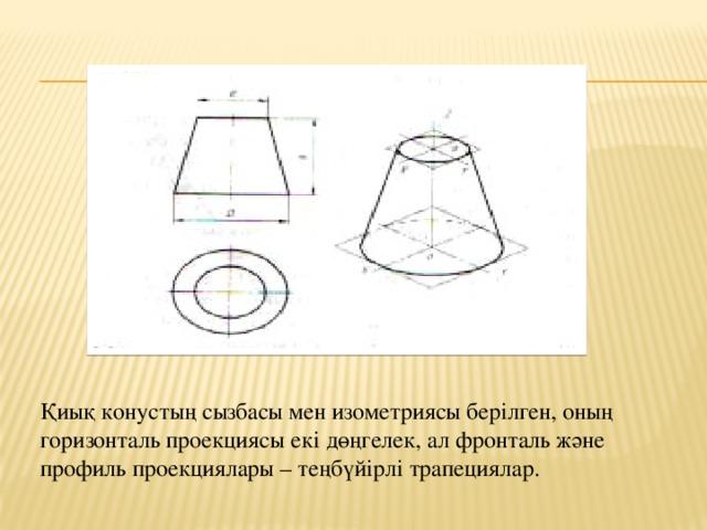 Қиық конустың сызбасы мен изометриясы берілген, оның горизонталь проекциясы екі дөңгелек, ал фронталь және профиль проекциялары – теңбүйірлі трапециялар.