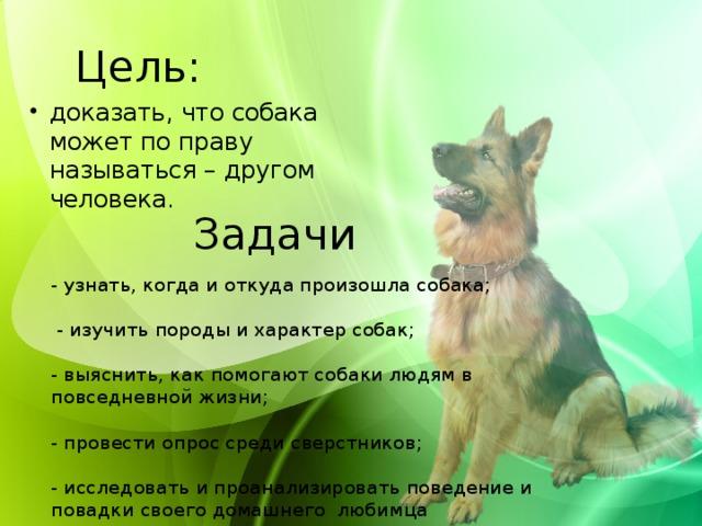 Цель: доказать, что собака может по праву называться – другом человека. Задачи - узнать, когда и откуда произошла собака;    - изучить породы и характер собак;  - выяснить, как помогают собаки людям в повседневной жизни;  - провести опрос среди сверстников;  - исследовать и проанализировать поведение и повадки своего домашнего любимца