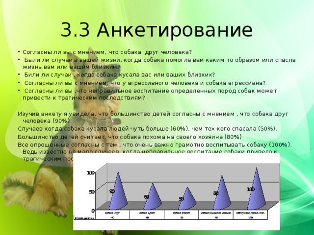 3.3 Анкетирование Согласны ли вы с мнением, что собака друг человека?  Были ли случаи в вашей жизни, когда собака помогла вам каким то образом или спасла жизнь вам или вашим близким?  Били ли случаи , когда собака кусала вас или ваших близких?  Согласны ли вы с мнением, что у агрессивного человека и собака агрессивна?  Согласны ли вы ,что неправильное воспитание определенных пород собак может привести к трагическим последствиям? Изучив анкету я увидела, что большинство детей согласны с мнением , что собака друг человека (90%) Случаев когда собака кусала людей чуть больше (60%), чем тех кого спасала (50%). Большинство детей считает, что собака похожа на своего хозяина (80%) Все опрошенные согласны с тем , что очень важно грамотно воспитывать собаку (100%). Ведь известно не мало случаев, когда неправильное воспитание собаки привело к трагическим последствиям.
