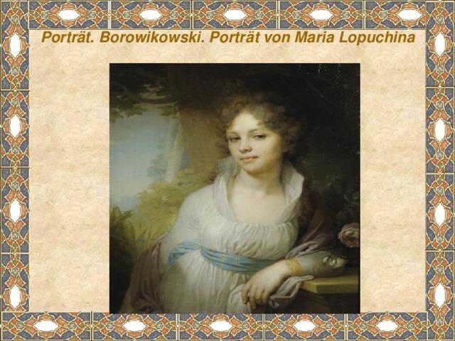 Porträt. Borowikowski. Porträt von Maria Lopuchina
