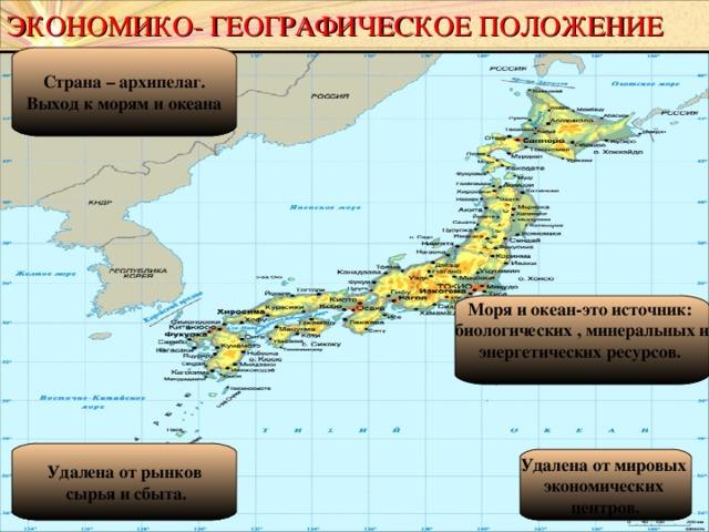 ЭКОНОМИКО- ГЕОГРАФИЧЕСКОЕ ПОЛОЖЕНИЕ Страна – архипелаг. Выход к морям и океана Моря и океан-это источник: биологических , минеральных и энергетических ресурсов.  Удалена от рынков  сырья и сбыта. Удалена от мировых экономических центров.