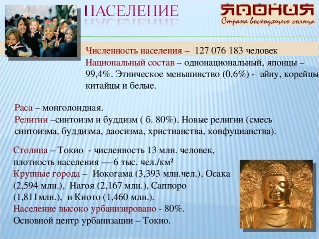 Численность населения – 127 076 183 человек Национальный состав – однонациональный, японцы – 99,4%. Этническое меньшинство (0,6%) - айну, корейцы, китайцы и белые. Раса – монголоидная. Религии –синтоизм и буддизм ( б. 80%). Новые религии (смесь синтоизма, буддизма, даосизма, христианства, конфуцианства). Столица – Токио - численность 13 млн. человек, плотность населения — 6 тыс. чел./км² Крупные города – Иокогама (3,393 млн.чел.), Осака (2,594 млн.), Нагоя (2,167 млн.), Саппоро (1,811млн.), и Киото (1,460 млн.). Население высоко урбанизировано - 80%. Основной центр урбанизации – Токио.