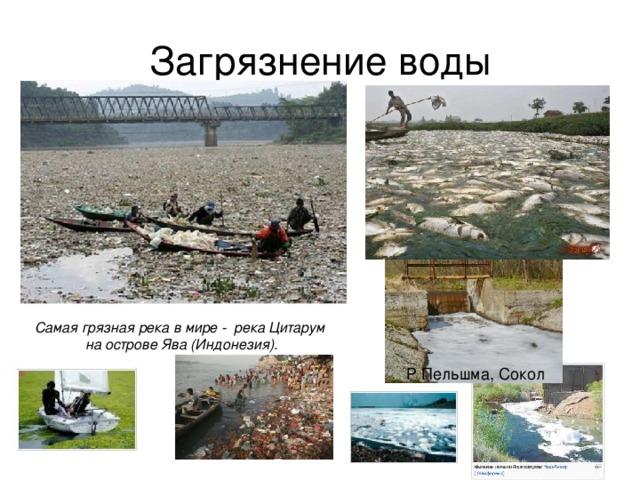 Загрязнение воды Самая грязная река в мире - река Цитарум на острове Ява (Индонезия). Р Пельшма, Сокол