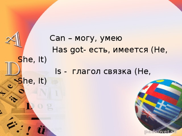 Can – могу, умею  Has got- есть, имеется ( He, She, It )  Is - глагол связка  ( He, She, It )