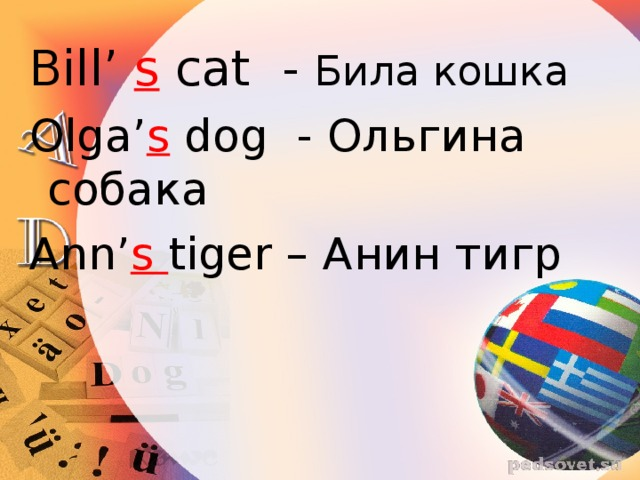 Bill' s cat - Била кошка Olga' s dog - Ольгина собака Ann' s tiger – Анин тигр