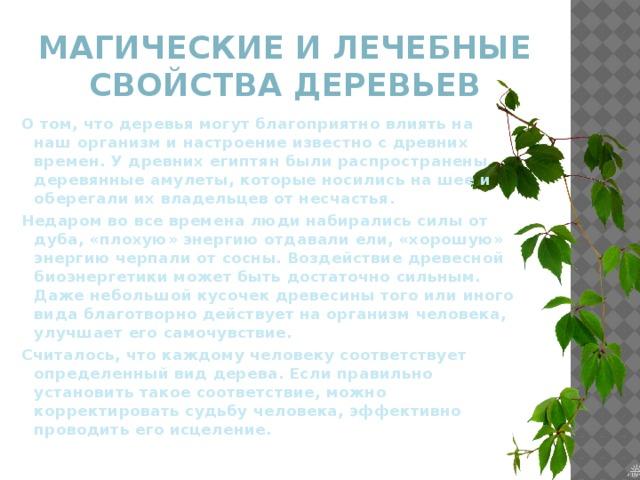 Магические и лечебные свойства деревьев О том, что деревья могут благоприятно влиять на наш организм и настроение известно с древних времен. У древних египтян были распространены деревянные амулеты, которые носились на шее и оберегали их владельцев от несчастья. Недаром во все времена люди набирались силы от дуба, «плохую» энергию отдавали ели, «хорошую» энергию черпали от сосны. Воздействие древесной биоэнергетики может быть достаточно сильным. Даже небольшой кусочек древесины того или иного вида благотворно действует на организм человека, улучшает его самочувствие. Считалось, что каждому человеку соответствует определенный вид дерева. Если правильно установить такое соответствие, можно корректировать судьбу человека, эффективно проводить его исцеление.