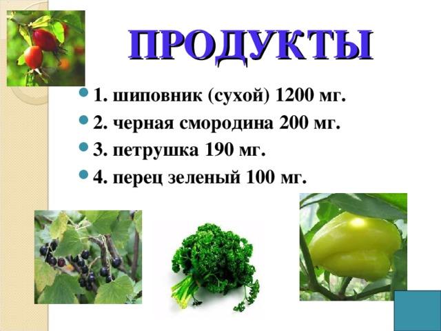ПРОДУКТЫ 1. шиповник (сухой) 1200 мг. 2. черная смородина 200 мг. 3. петрушка 190 мг. 4. перец зеленый 100 мг.