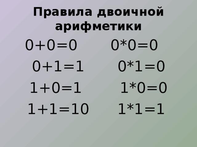 Правила двоичной арифметики 0+0=0 0*0=0 0+1=1 0*1=0 1+0=1 1*0=0 1+1=10 1*1=1