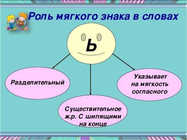 Роль мягкого знака в словах Ь  Указывает на мягкость согласного Разделительный  Существительное ж.р. С шипящими на конце
