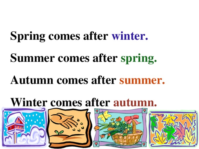 Spring comes after winter. Summer comes after spring. Autumn comes after summer. Winter comes after autumn.