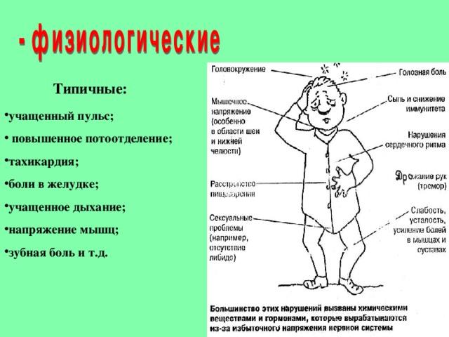 Типичные: учащенный пульс;  повышенное потоотделение; тахикардия; боли в желудке; учащенное дыхание; напряжение мышц; зубная боль и т.д.