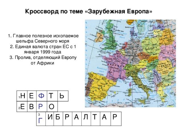 Кроссворд по теме «Зарубежная Европа» 1. Главное полезное ископаемое шельфа Северного моря 2. Единая валюта стран ЕС с 1 января 1999 года 3. Пролив, отделяющий Европу от Африки 1 Н Е Ф Т Ь 2 Е В Р О 3 Г И Б Р А Л Т А Р