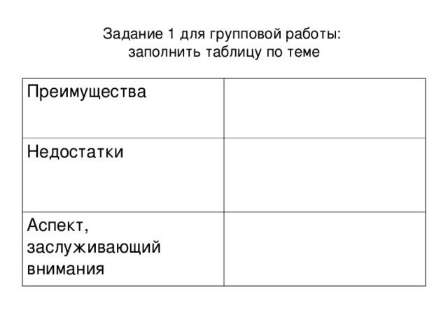 Задание 1 для групповой работы:  заполнить таблицу по теме Преимущества Недостатки Аспект, заслуживающий внимания