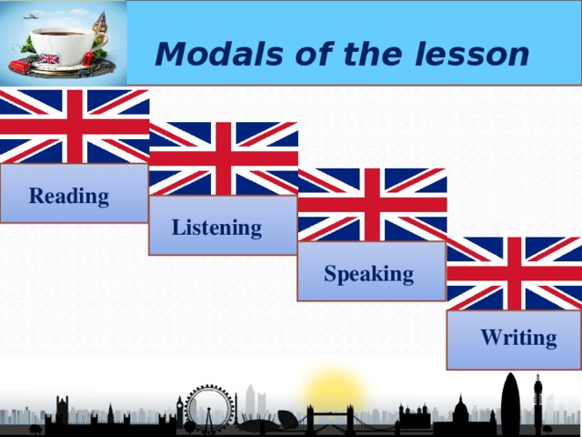 Modals of the lesson Reading  Listening  Speaking  Writing