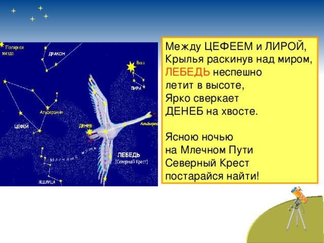 Между ЦЕФЕЕМ и ЛИРОЙ, Крылья раскинув над миром, ЛЕБЕДЬ неспешно летит в высоте, Ярко сверкает ДЕНЕБ на хвосте. Ясною ночью на Млечном Пути Северный Крест постарайся найти!