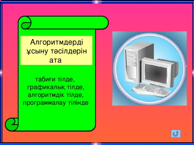 Алгоритмдерді ұсыну тәсілдерін ата табиғи тілде, графикалық тілде, алгоритмдік тілде, программалау тілінде