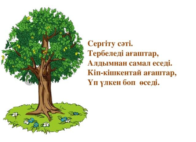 Сергіту сәті. Тербеледі ағаштар, Алдымнан самал еседі. Кіп-кішкентай ағаштар, Үп үлкен боп өседі.